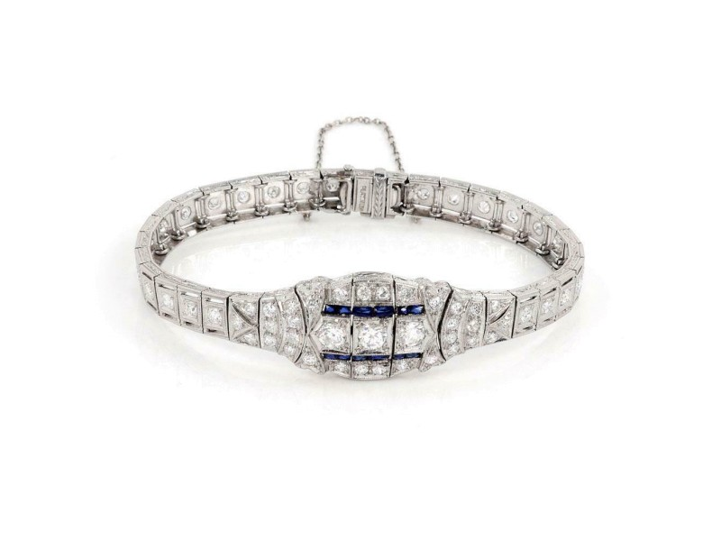 Art Deco 1.60ct Diamond Sapphire Platinum Fancy Milgrain Bracelet