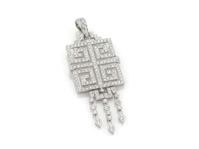18k White Gold 3 Carats Diamond Fancy Maze Design Dangle Pendant