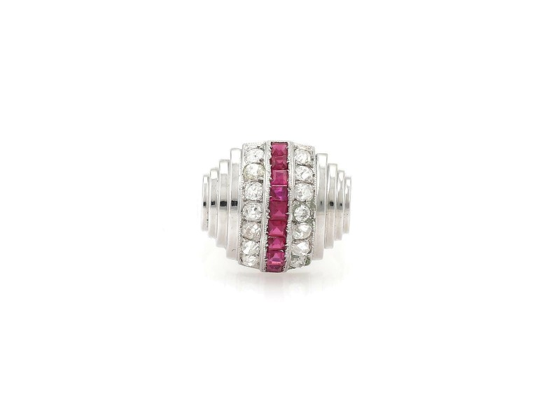 Art Deco 1.90ct Old MineCut Diamond Ruby 18k White Gold Dome Ring Size 6.5