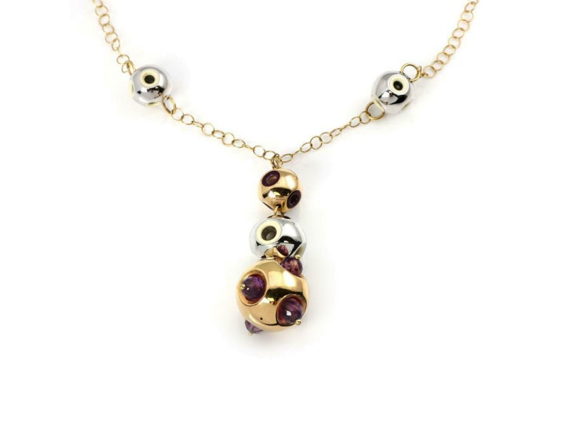 18k Tri-Color Gold Amethyst & Enamel Graduated Ball Pendant & Chain