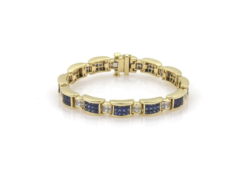 18k Yellow Gold Princess Cut Diamond & Sapphire Invisibly Set Bracelet