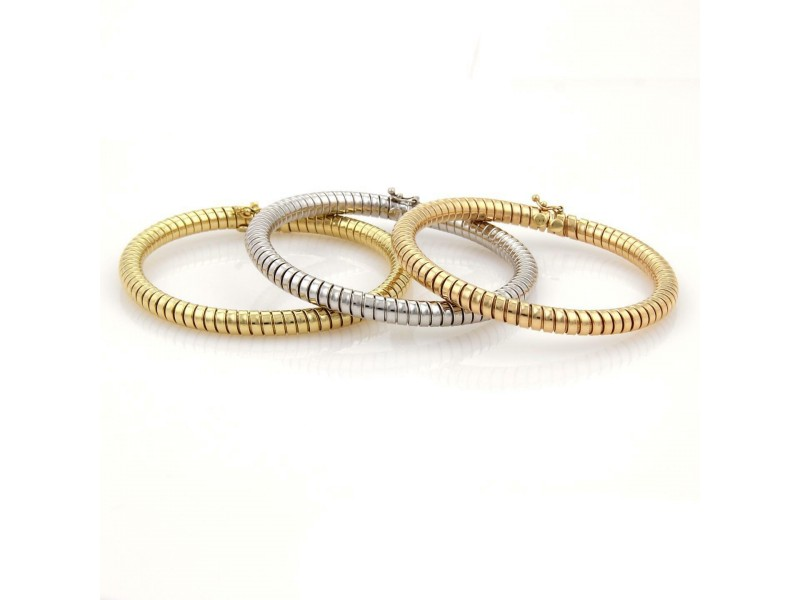 18k Tri-Color Gold Set of 3 Tubogas Snake Design 5.5mm Flex Bangle Bracelet 72gr