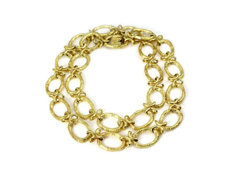 """14k Yellow Gold Oval Bamboo Links Long Necklace 30.5"""" Long 109g"""