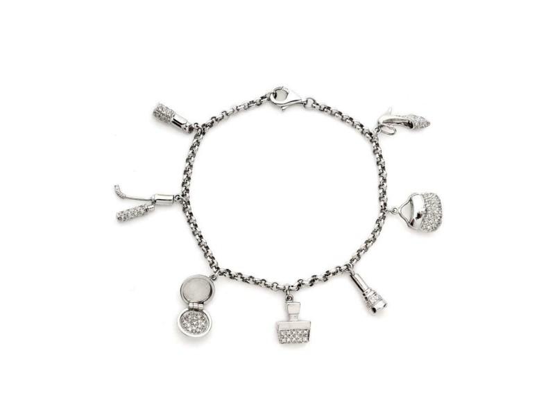 14k White Gold Diamond golf club, compact mirror, lipsitck, purse, bag Bracelet