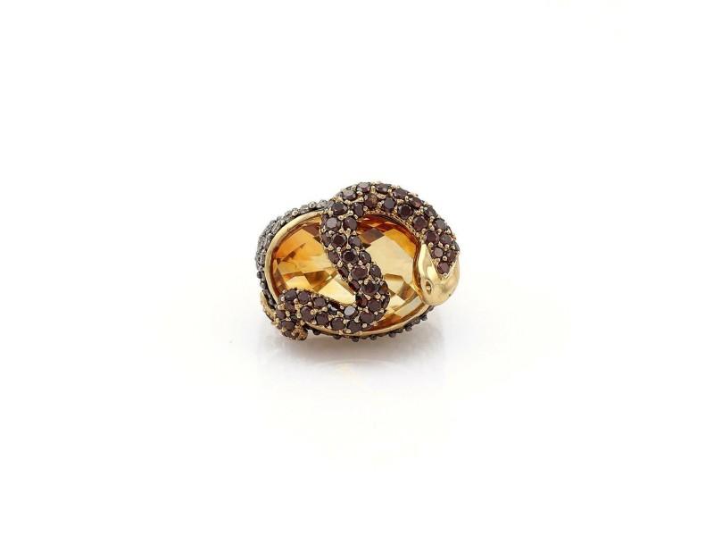 14k Yellow Gold 3.50ct Champagne Diamond Garnet Topaz Snake Ring