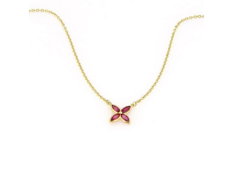 Tiffany & Co. Victoria Ruby 18k Yellow Gold Flower Pendant & Chain