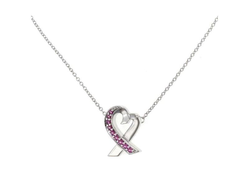 Tiffany & Co. Loving Heart Pink Sapphire 18k White Gold Pendant & Chain