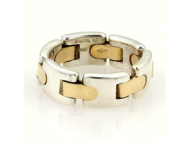 Tiffany & Co. Sterling 18k Yellow Gold 7mm Wide Flex Band Ring Size 6.25