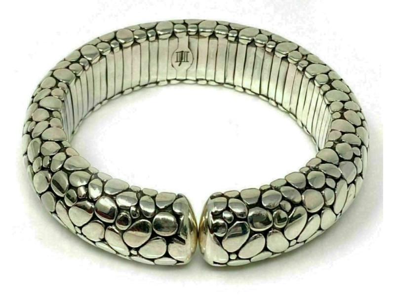 John Hardy Kali Pebble Sterling Silver 17mm Wide Dome Stretch Bracelet
