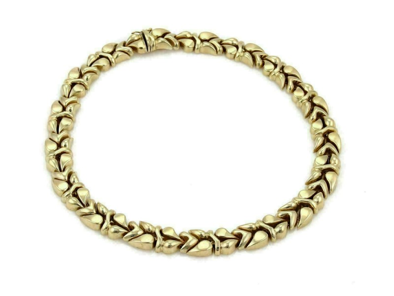 """Fancy Design 13.5mm Wide 14k Yellow Gold Collar Necklace - Fits Small Neck 14"""""""
