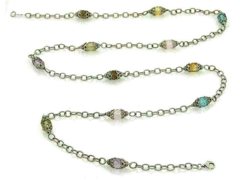 Gabriel & Co Infinity Multicolor Gems 14k White Gold Fancy Bead Necklace 36""