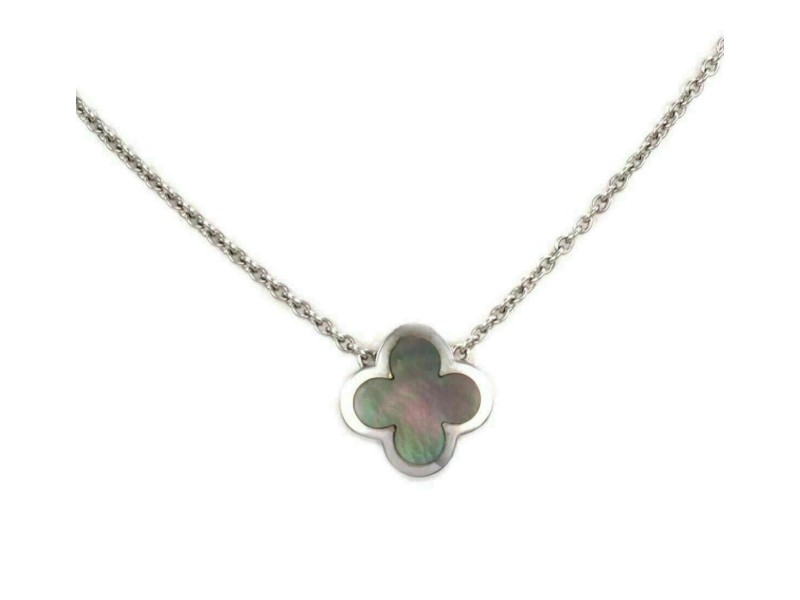 Van Cleef & Arpels Pure Alhambra Gray Mother of Pearl 18k White Pendant Necklace