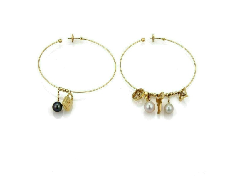 Louis Vuitton Pearls 18k Gold Logo Dangling Charms Extra Large Hoop Earrings