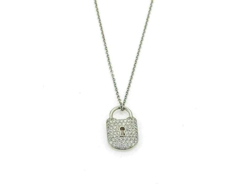 Tiffany & Co. Diamond Platinum Classic Padlock Pendant