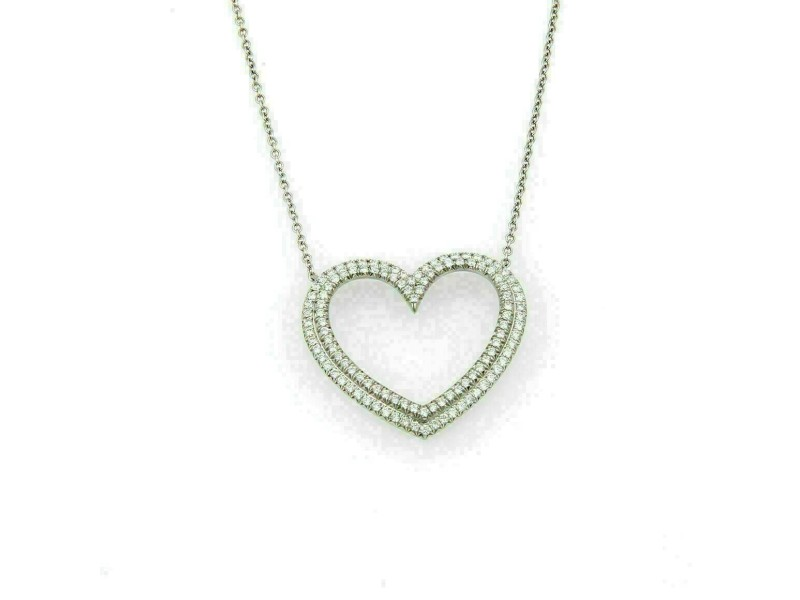Tiffany & Co. Large Metro Diamond Platinum Heart Pendant Necklace