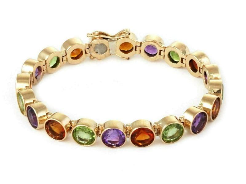 Multi-Color Bezel Set Round Gems 14k Yellow Gold Link Bracelet