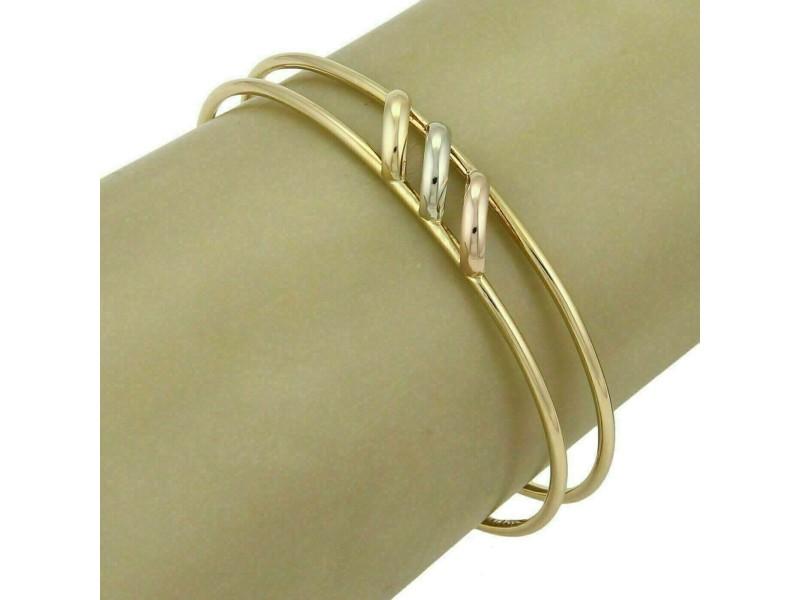 Cartier Trinity 18k Tri-Color Gold Open Double Wire Cuff Bracelet w/Paper