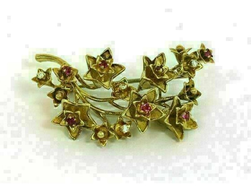 Vintage Tiffany & Co. Ruby Diamond 18k Yellow Gold Floral Spring Brooch Pin