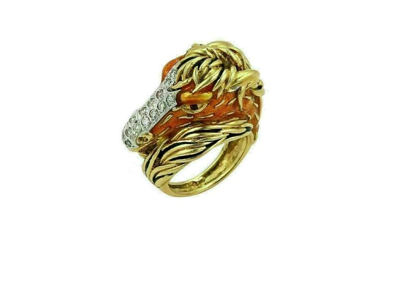 Fascarolo Horse Head Diamond Ruby & Enamel 18k Yellow Gold Ring