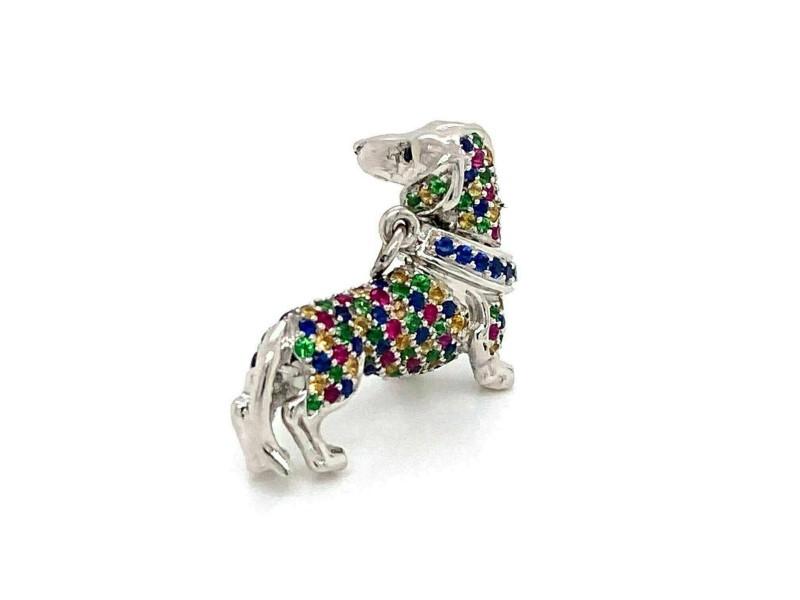 Platinum Multicolor Sapphire Dachshund Wiener Dog Charm Pendant