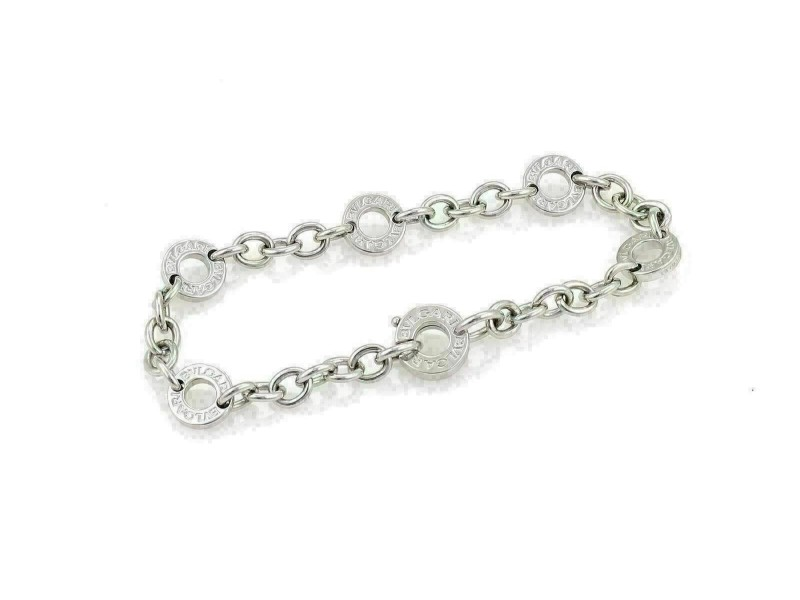 Bvlgari 18k White Gold 6 Engraved Circle Link Chain Bracelet