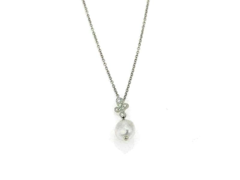 Tiffany & Co. Fleur Diamond & Keshi Pearl Platinum Pendant & Chain