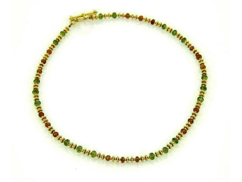 Laura Gibson 22k Yellow Gold Fractal Faceted Orange & Green Beaded Necklace