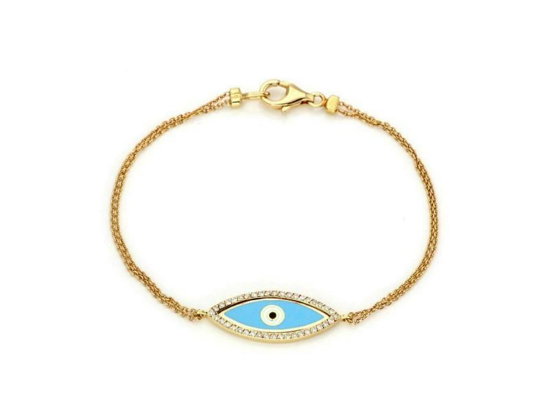 Aaron Basha Diamond Enamel Good Luck Eye Charm 18k Gold Bracelet