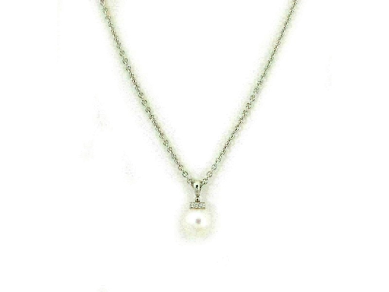 Bvlgari Diamond 8.6mm Pearl 18k White Gold Pendant & Chain
