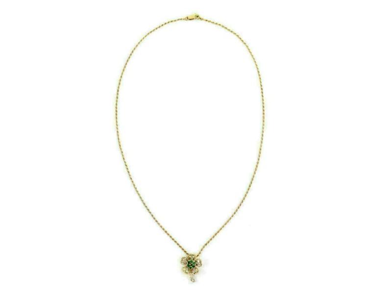 Graff Diamond & Emerald 18k Yellow Gold Flower Pendant Necklace