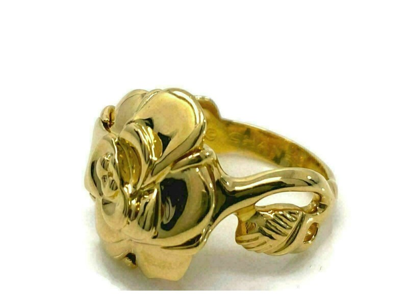 Chanel Camellia Flower & Leaves 18k Yellow Gold Ring