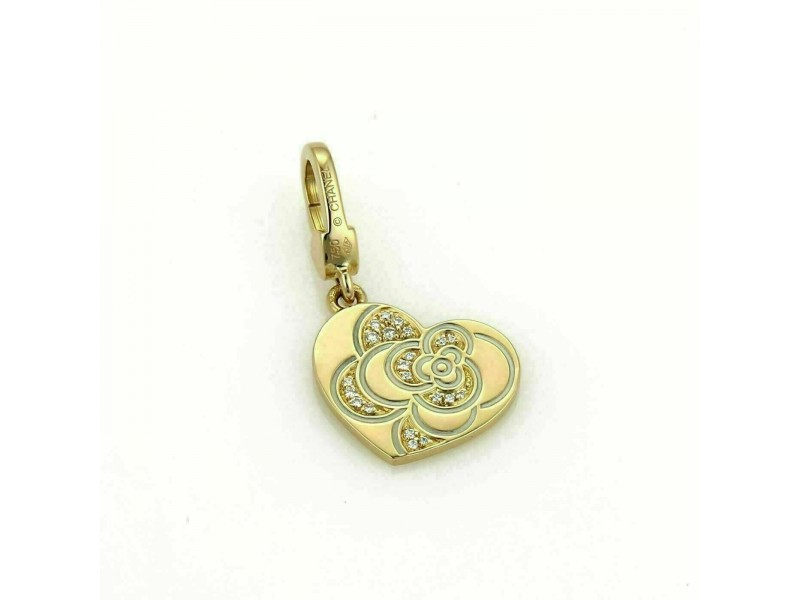 Chanel Diamond 18k Yellow Gold Camellia Flower Heart Charm Pendant