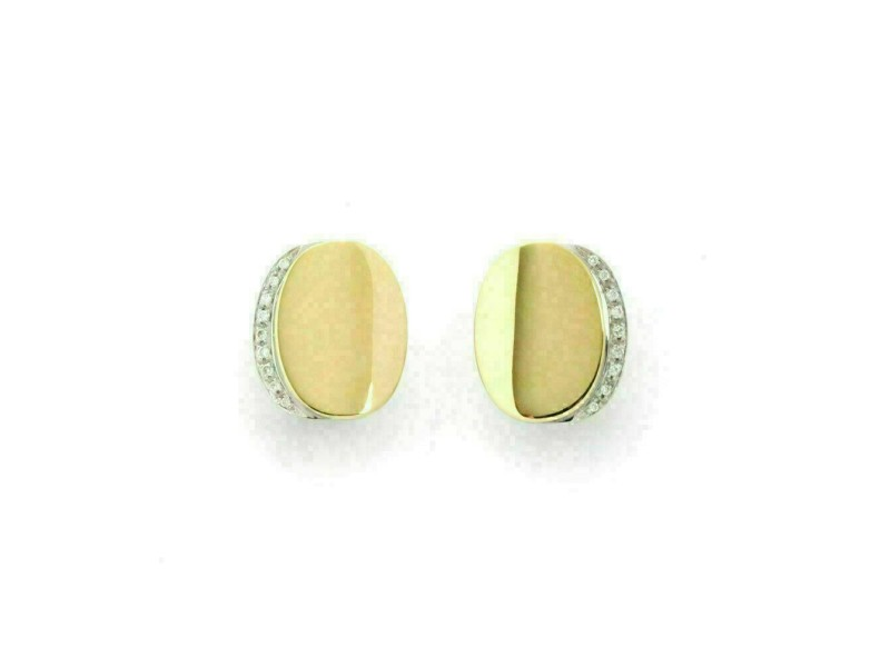 Roberto Coin Diamond 18k Two Tone Gold Fancy Oval Post Clip Earrings