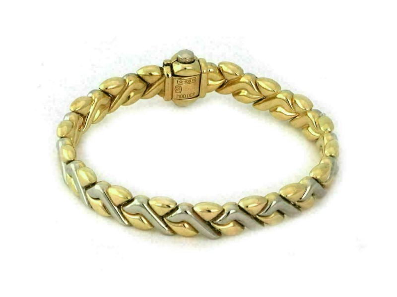 Chimento 18k Two Tone Gold 8.5mm Wide Fancy Design Bracelet
