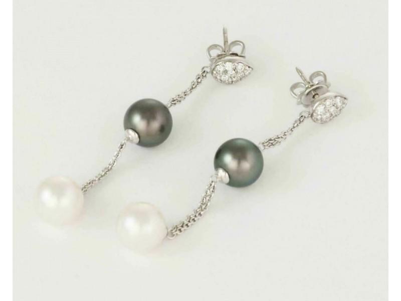 Diamond Gray Tahitian & White Pearls 18k Gold Double Chain Dangle Earrings