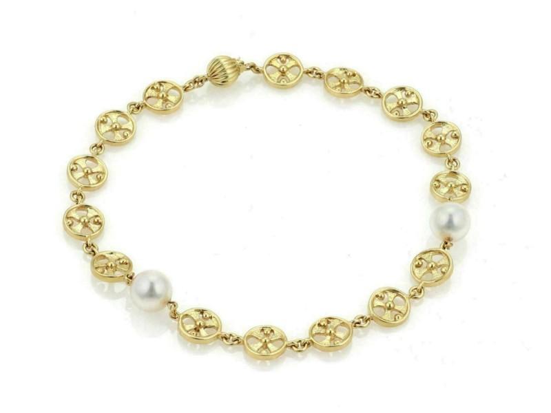 Mikimoto Akoya Pearls 18k Yellow Gold Round Wheel Link Bracelet