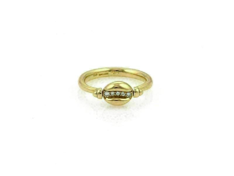 Bvlgari Diamond 18k Yellow Gold Swivel Coffee Bean Ring