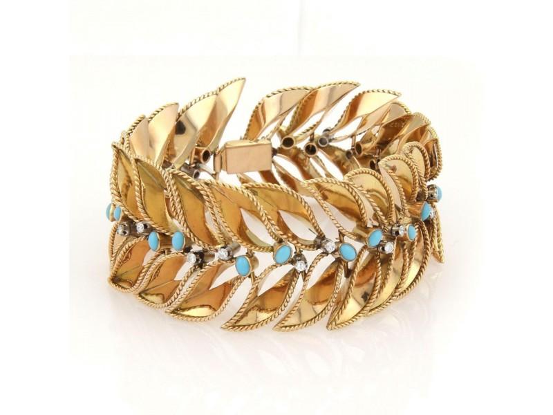 Vintage Wide Diamonds & Turquoise 18k Yellow Gold Leaf Design Bracelet