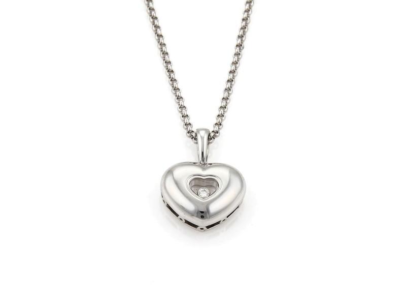 Chopard Happy Diamond 18k White Gold Heart Pendant & Chain Necklace