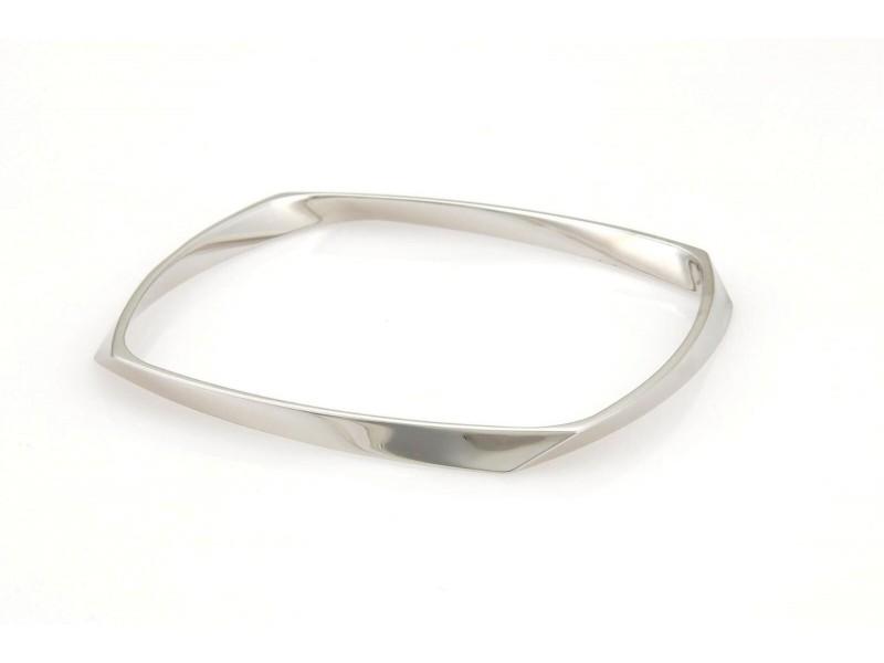Tiffany & Co. Gehry Torque 18k White Gold Square Bangle Bracelet