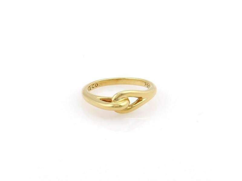 Tiffany & Co. 18k Yellow Gold Double Loop Interlaced Band Ring Size 6