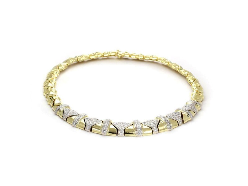 Estate 5.50ct Diamond 18k Gold Graduated Geometric Link Collar Necklace