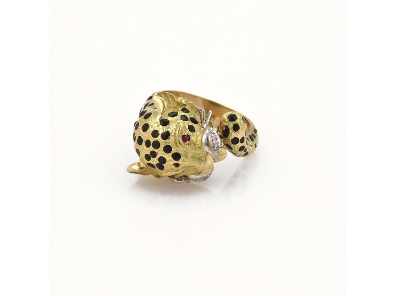Vintage Diamond & Ruby 18k Yellow Gold Black Enamel Cheetah Ring Size 5.75