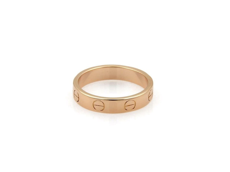 Cartier Mini Love 18k Rose Gold 3.5mm Band Ring Size 50-US 5.25 w/Cert