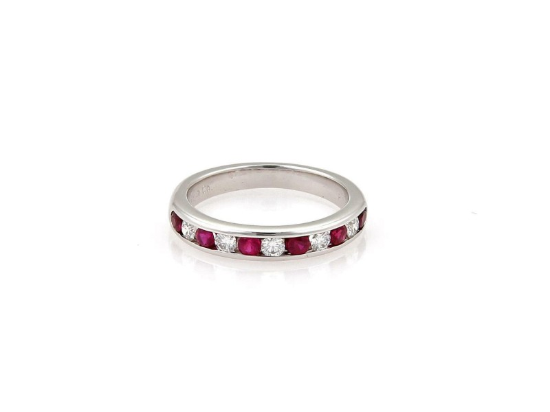 Tiffany & Co. Diamond Ruby Platinum 2mm Channel set Band Ring Size - 4