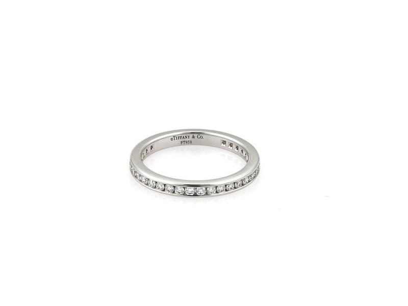 Tiffany & Co. Diamond Platinum Eternity Wedding Band Ring Size 4.75 Retail $3475