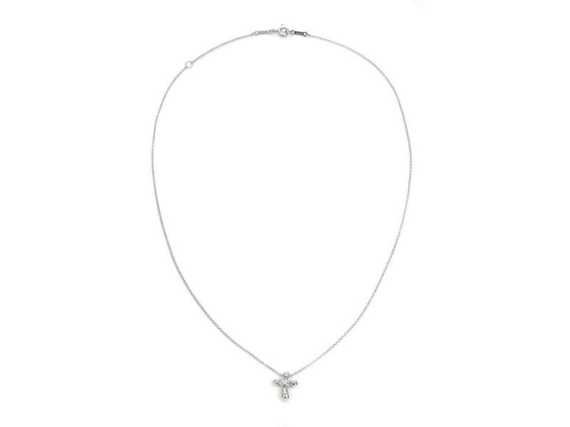 Tiffany & Co. Peretti Diamond Platinum Cross Pendant & Chain