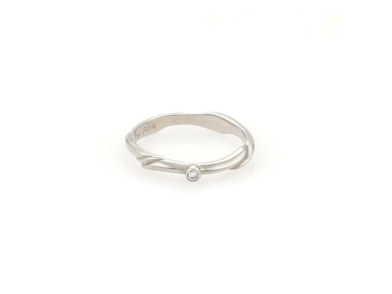 Georg Jensen Diamond 18k White Gold 2.5mm Band Ring Size 6.5