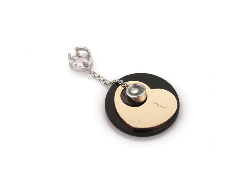 Chopard Happy Diamond Onyx Two Tone Gold Heart & Circle Fancy Pendant