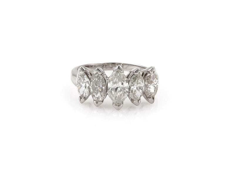 Estate 3.42ct Marquise Cut Diamond 14k White Gold 5 Stone Ring Size 7.75